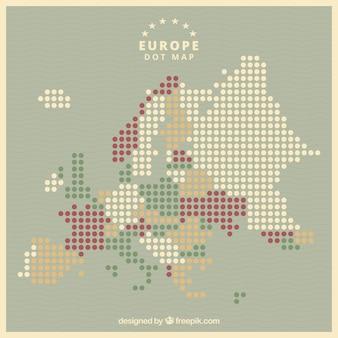 Karte von europa mit punkten in der flachen art
