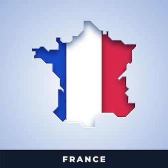 Karte von frankreich mit flagge