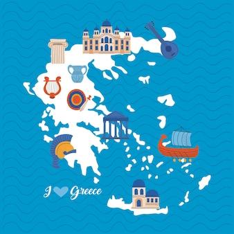 Karte von griechenland mit symbolen