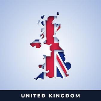 Karte von großbritannien mit flagge