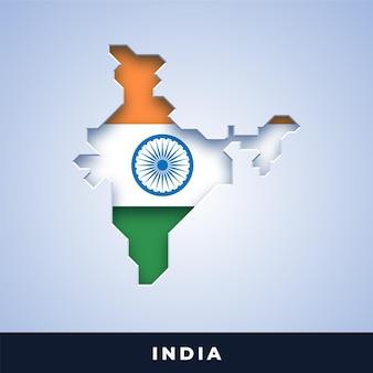 Karte von indien mit flagge