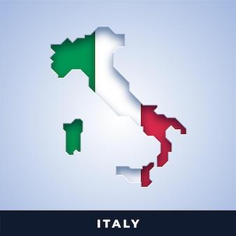Karte von italien mit flagge