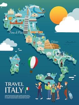Karte von italien sehenswürdigkeiten vektor und illustration.