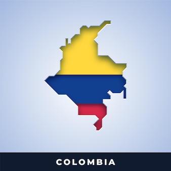 Karte von kolumbien mit flagge