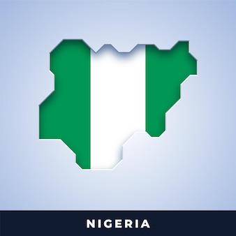 Karte von nigeria mit flagge