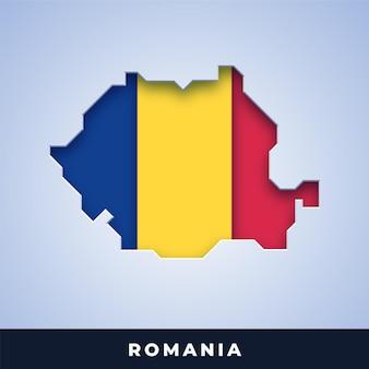 Karte von rumänien mit flagge
