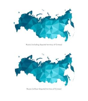Karte von russland (einschließlich umstrittenes territorium der krim und ohne es). polygonaler geometrischer stil, dreieckige formen.