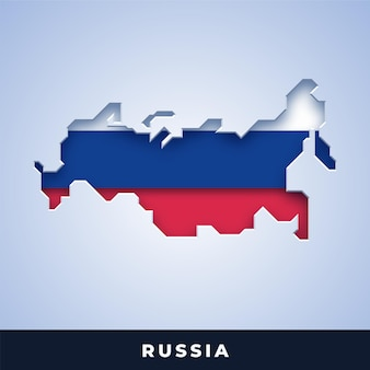 Karte von russland mit flagge