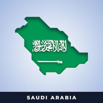 Karte von saudi-arabien mit flagge