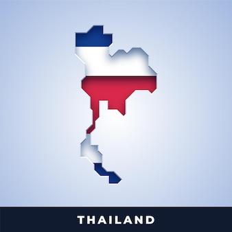 Karte von thailand mit flagge