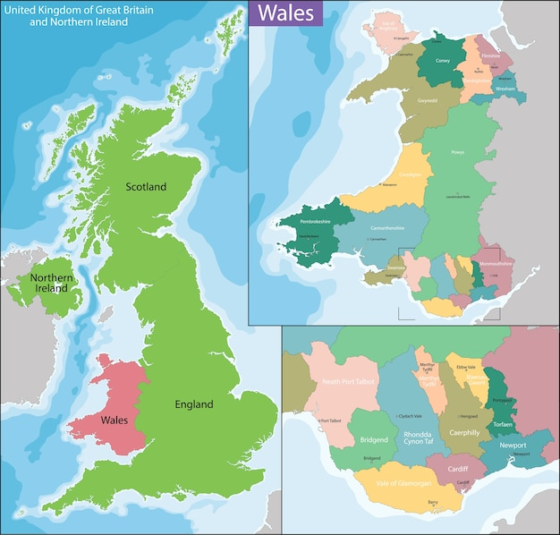 Karte von wales