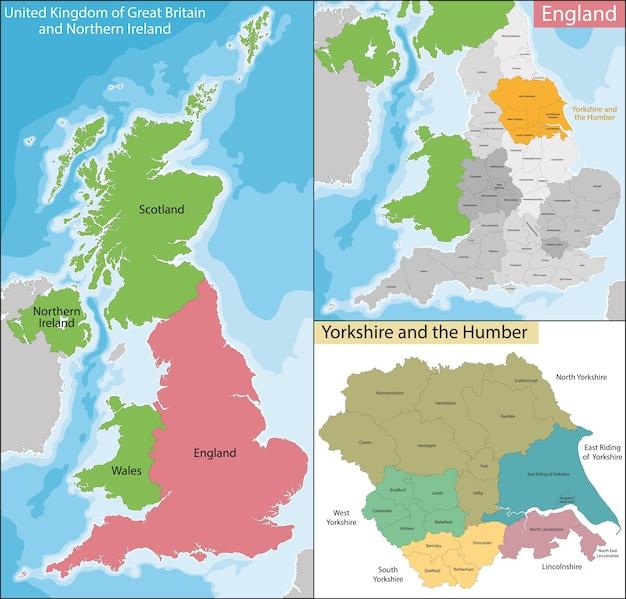 Karte von yorkshire und der humber