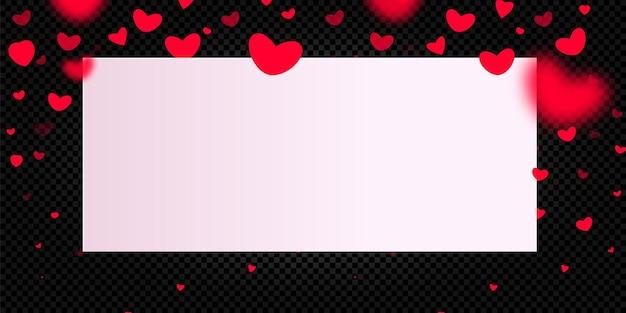 Karte zum valentinstag. rote fallende herzen auf einem schwarzen hintergrund.