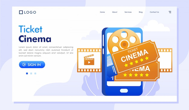 Karten-kino-on-line-landing page illustration vector