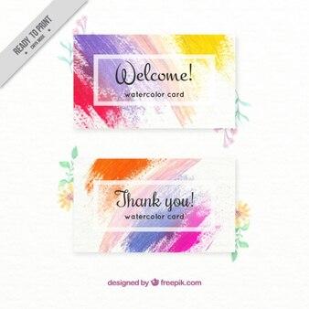 Karten mit farbe pinselstriche