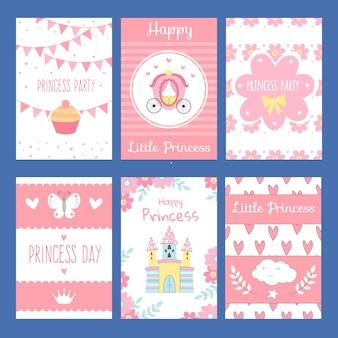 Karten mit lustiger dekoration für kinder.