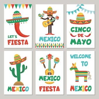 Karten mit mexikanischen symbolen