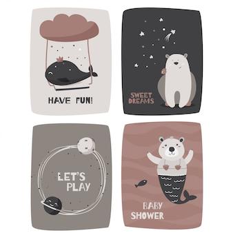Karten mit niedlichen tieren
