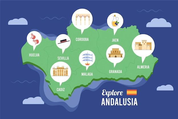 Karten mit piktogrammen für spanien, andalusien