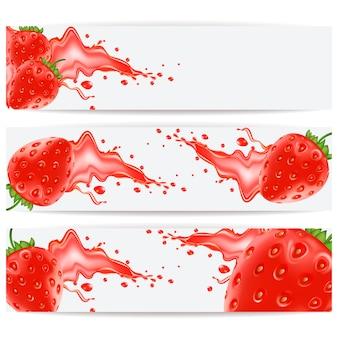 Karten mit realistischen erdbeeren und einem spritzer saft