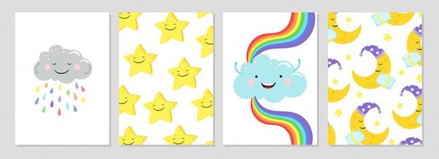 Karten mit wolken, regenbogen, mond