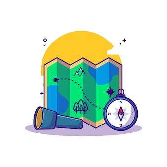 Karten-papierkompass- und fackel-cartoon-illustrationen