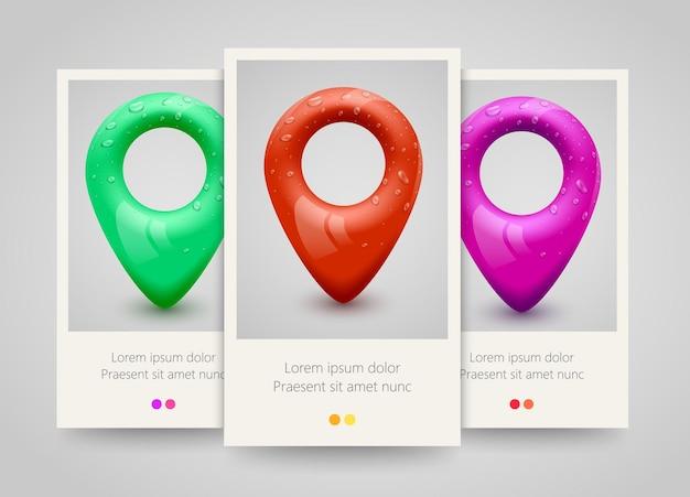 Karten-pin-zeiger-banner-set. Premium Vektoren