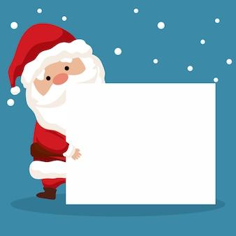 Kartendesign der frohen weihnachten von santa claus mit seinem plakat