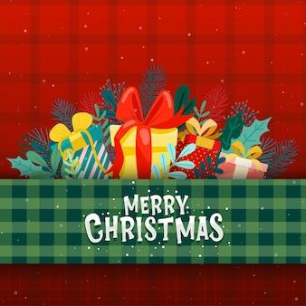 Kartenentwurf mit frohen weihnachtsikonen