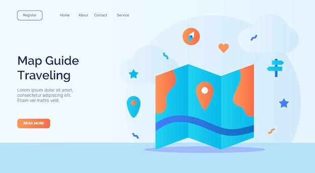Kartenführer reise icon kampagne für web-homepage homepage landing template banner mit cartoon flat style.