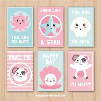 Kartenpaket mit adorable charaktere