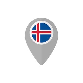 Kartenpin mit der flagge von island
