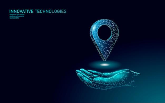 Kartenpunkt standortgeschäftssymbol. polygonale lieferung der realistischen ikone weltweit planet. versand online-einkaufsrichtung stadt adresse position pin