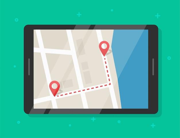 Kartenroutenpfad mit zeigermarkierungen online auf dem tablet-bildschirm des mobilgeräts
