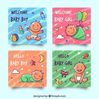 Kartensammlung mit niedlichen babys