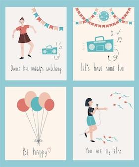 Kartensammlung set mit luftballons tanzendes mädchen singende mädchenballonsperfekt für postkarten