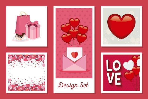 Kartensatz der liebe mit dekoration