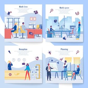 Kartensatz für geschäftsentwicklungsplanung und zeitmanagement