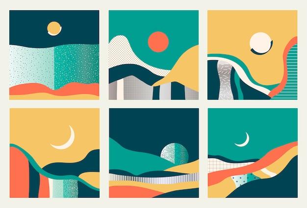 Kartensatz mit abstrakten landschaften