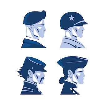 Kartensatz mit amerikanischem soldaten, gedenktag
