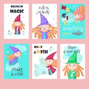 Kartensatz mit niedlichen kleinen zauberinnen