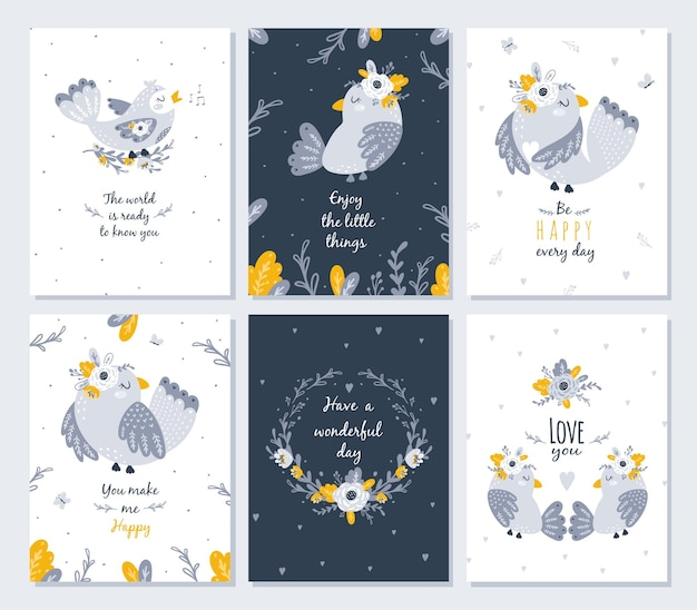 Kartensatz mit niedlicher vogel- und blumenillustration