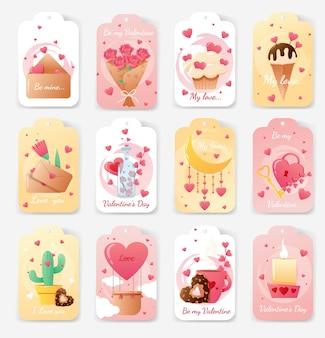 Kartensatz zum valentinstag.