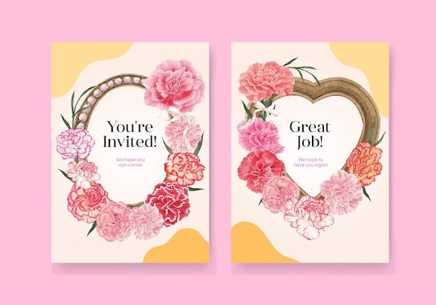 Kartenschablone mit nelkenblumenkonzept, aquarellart
