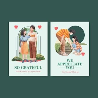 Kartenschablone mit paradiesliebeskonzeptdesign-aquarellillustration