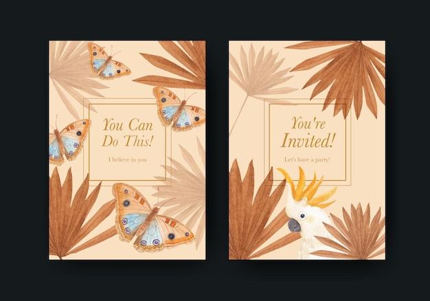 Kartenschablone mit tropischem botanikkonzept, aquarellart