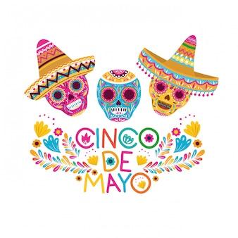 Kartenschädel cinco des mayo auf weißer karte