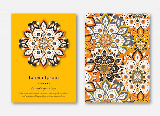 Kartenset, flyer, broschüren, vorlagen mit handgezeichneter manda