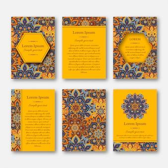 Kartenset, flyer, vorlage mit mandala.