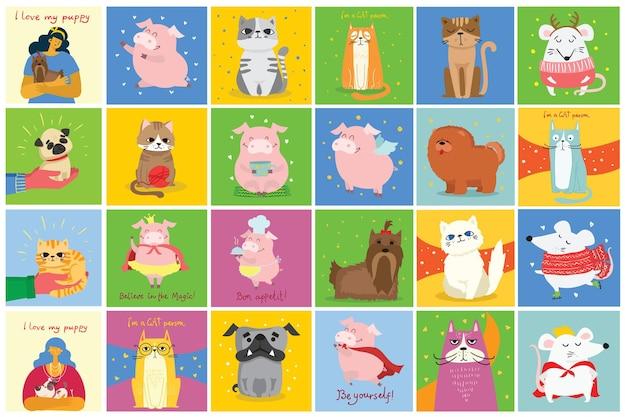 Kartenset mit katzen und hunden im flachen stil